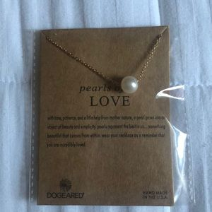 Pearls of love dogeared necklace brand new